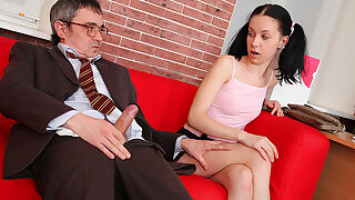 TrickyOldTeacher - Horny student sucks older teachers cock and rides cock ingratiate oneself with he cums