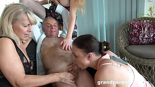 Age-old man takes his dribble added to fucks the slutty full-grown in crazy action