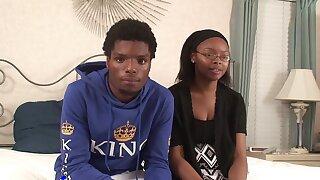 Ebony teen shares hot amateur XXX play with horny boyfriend